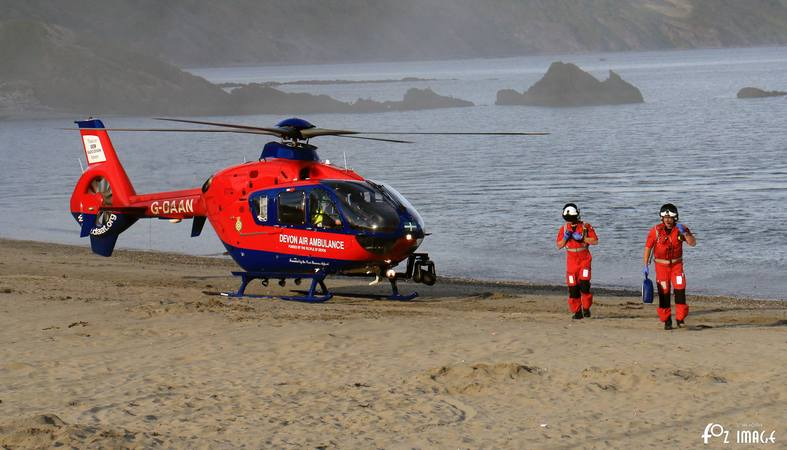 5 August 2017 - Shout #4 Devon Air Ambulance landing on East Looe beach © Ian Foster / fozimage