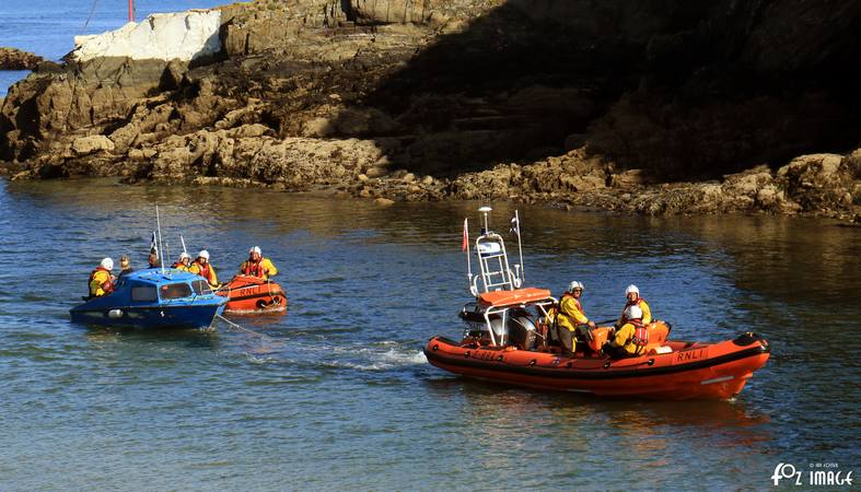 17 June 2017 - Looe RNLI Atlantic 85 and D Class ilb's with the cruiser in Looe river © Ian Foster / fozimage